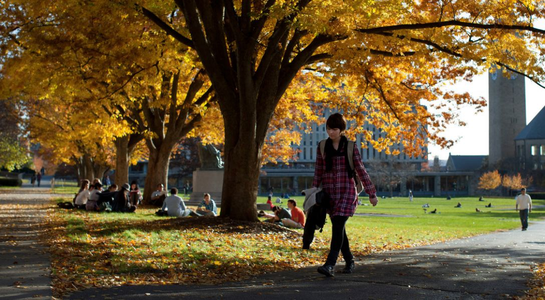 A student walking on the Arts Quad